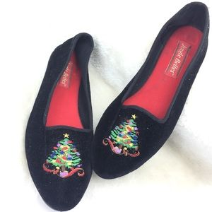 Shoes - Jingle Bells Velvet Embroidered Holiday Slippers